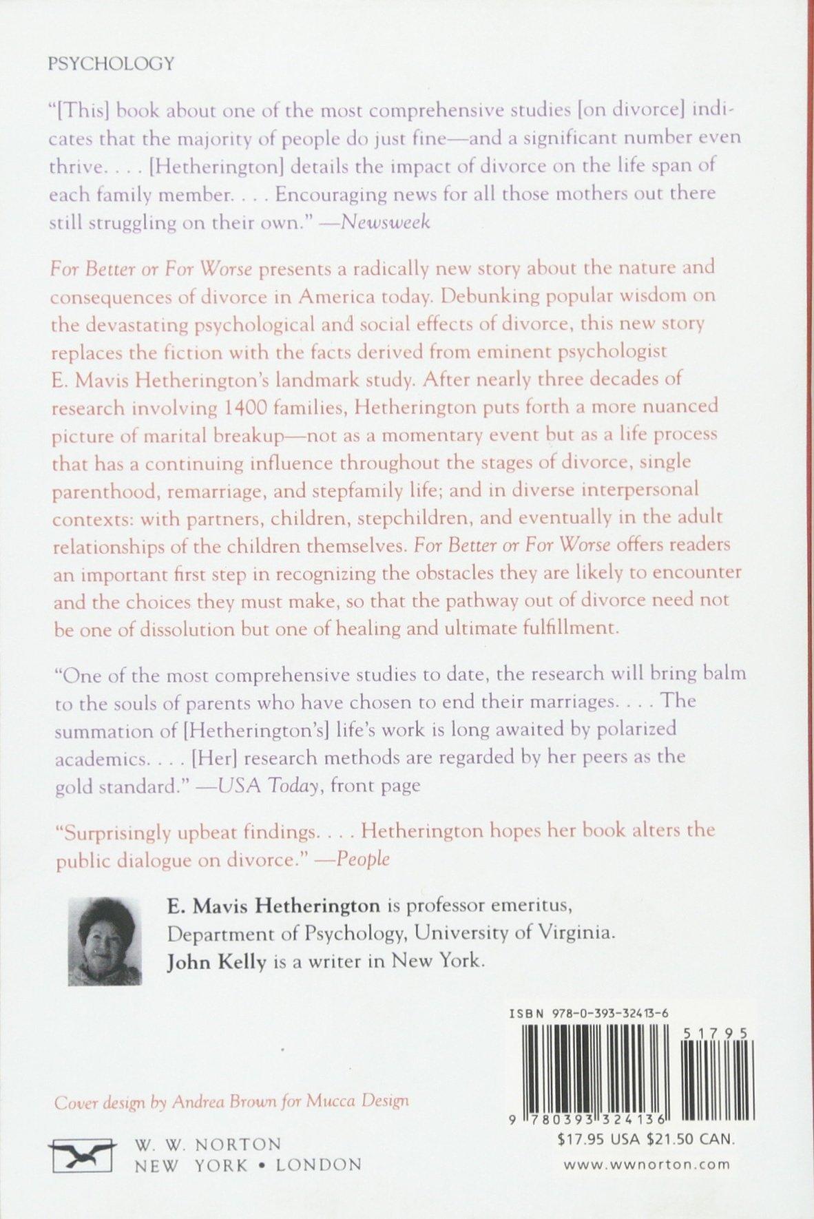For Better or For Worse: Divorce Reconsidered: E. Mavis Hetherington ...