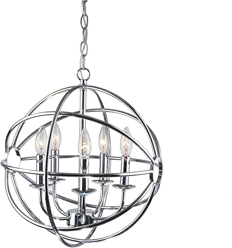 Jojospring Benita Chrome Glam Orb 5-Light Iron Chandelier