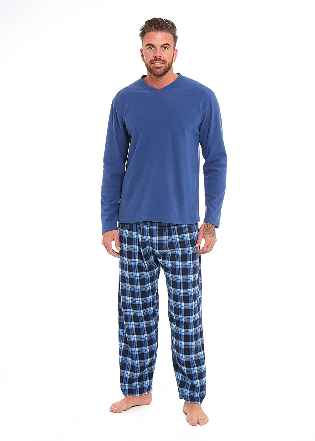 Mens Boys Pyjamas PJ's Cozy Warm Fleece Pajama Set - Matching Pajamas Sets