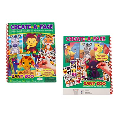 Create-A-Face Book (Zanny Zoo) Spiral Bound Sticker Face Creative Arts Crafts Activity Kids: Kitchen & Dining