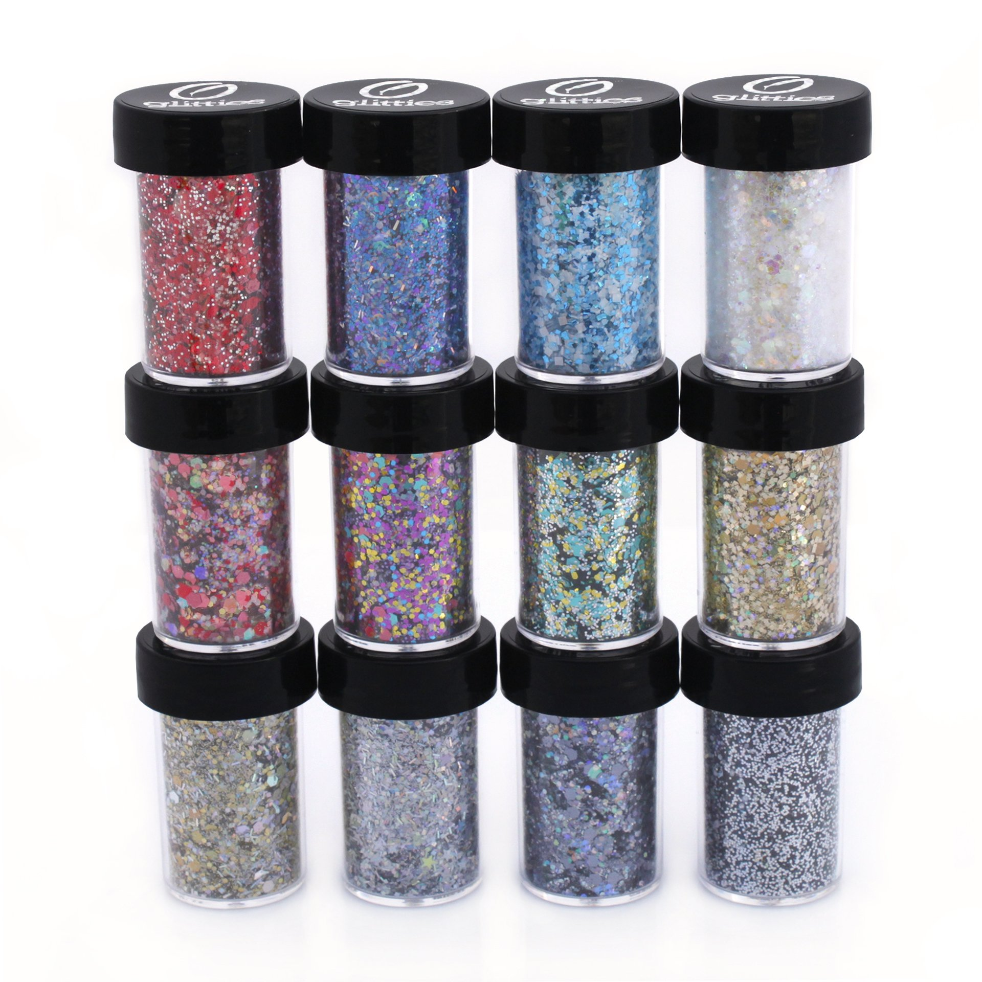 Polyester Mixed Glitter 12 Piece Kit - Includes Solvent Resistant Dust, Powder, Hexagon, Holographic, Glitters - Great for Nail Art Polish, Gels, Acrylics Supplies, Art and Crafts, - (7/8 Oz Jars)