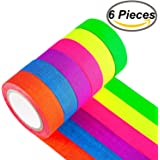 Fluorescent Neon Gaffer Tape - Cloth matt Finish is Reactive Under UV Blacklight, Great for Glow Parties and Art Projects (0.5 in x 16.5 Feet) 6 Pieces