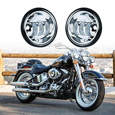 """Xprite 4.5"""" Inch Chrome 60W Cree Led Spot Lights 6000k White Passing Lights Fog Lamp for Harley Davidson Daymaker Motorcycles: Automotive"""