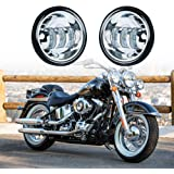 """Xprite Chrome 4.5"""" Inch 60W CREE LED fog Lights 6000K White Passing Projector Spot Lamp for Harley Davidson Daymaker Motorcycles"""