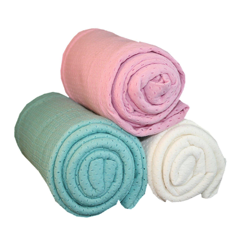 Woombie 3 Piece Organic Airwrap Vented Blankets, Teal/Cream/Rose, 44' 44 teal cream rose
