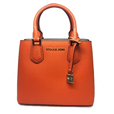 1349a861afb0d6 Amazon.com: Michael Kors Adele MD Leather Messenger Bag in Clementine/Ballet:  Shoes