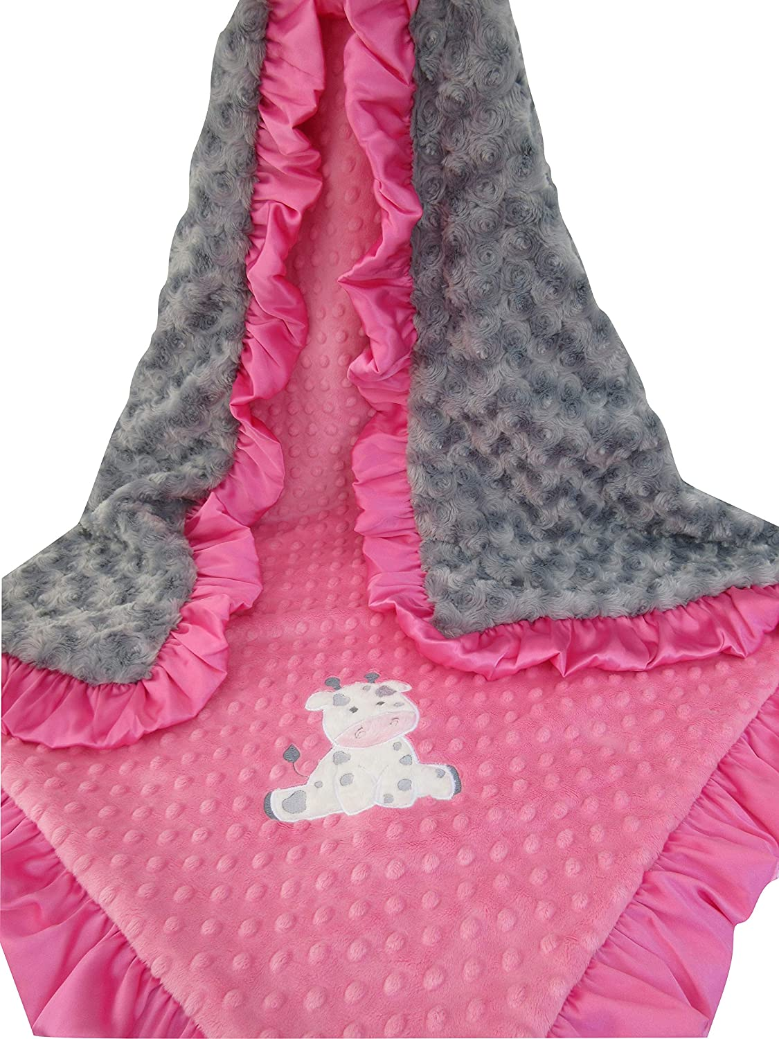 Hot pink and Gray Paws Minky Monogrammed Baby Blanket Puppy Gift baby girl gift Blanket with name Birth Stats Newborn Custom