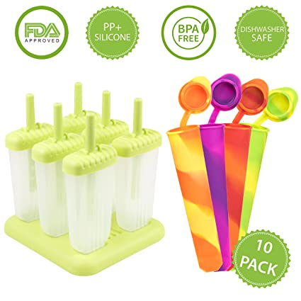 4 Moldes de silicona para helados multi color mas 6 moldes reutilizables para polos con base