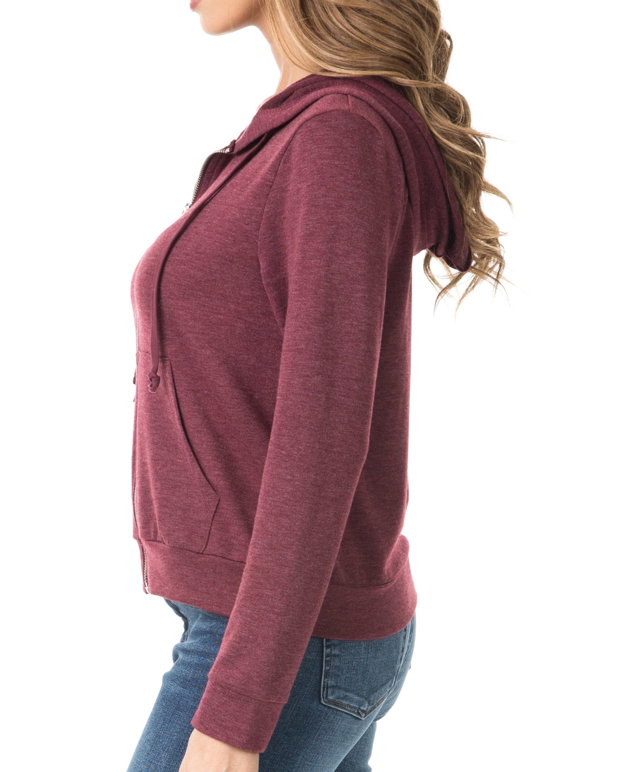 Nolabel B7_032 Women's Long Sleeve French Terry Drawstring Hoodies Zip Up Sweatshirt Hooded (Burgundy/5XL) by Nolabel (Image #2)