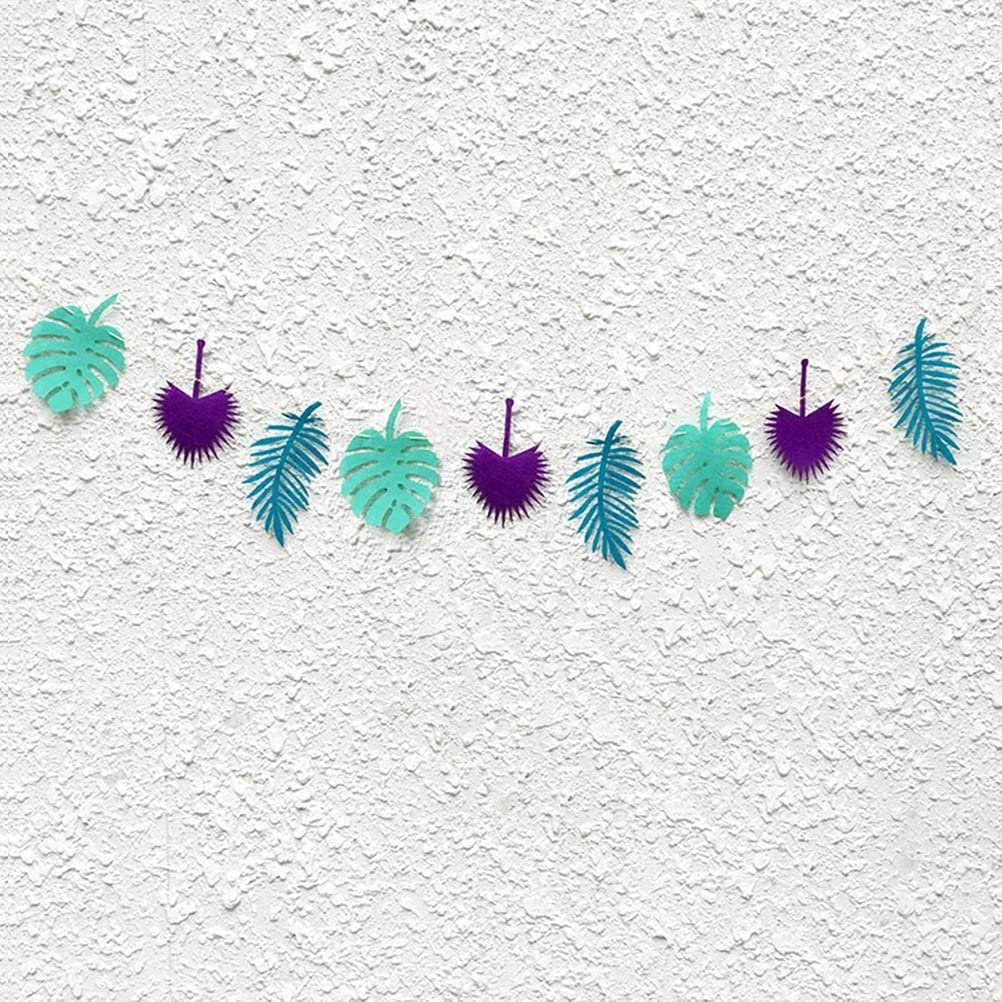 Tinksky Hawaii Leaves Banner Garland Banner for Birthday Luau Party Decoration Purple