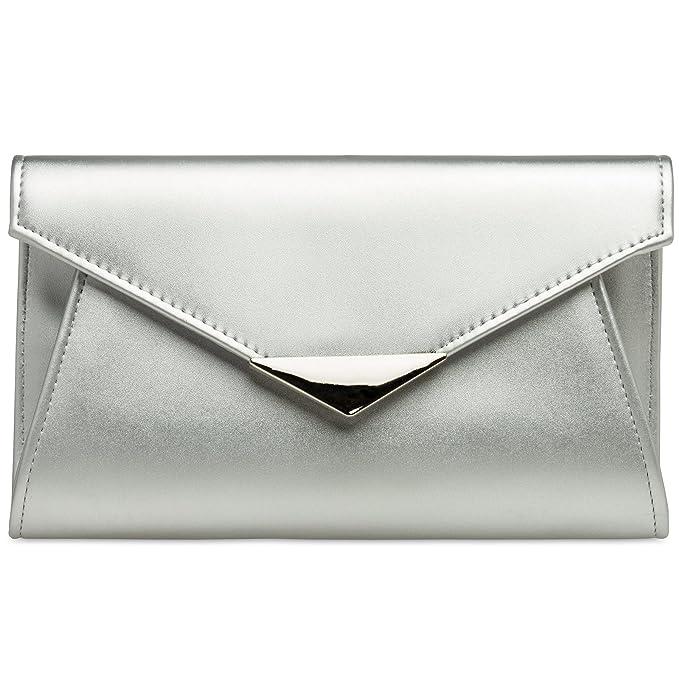 65d8c835c9 CASPAR TA363 Donna Pochette a Busta Grande XL con Catena,  Colore:argento;Dimensioni:Taglia unica: Amazon.it: Abbigliamento