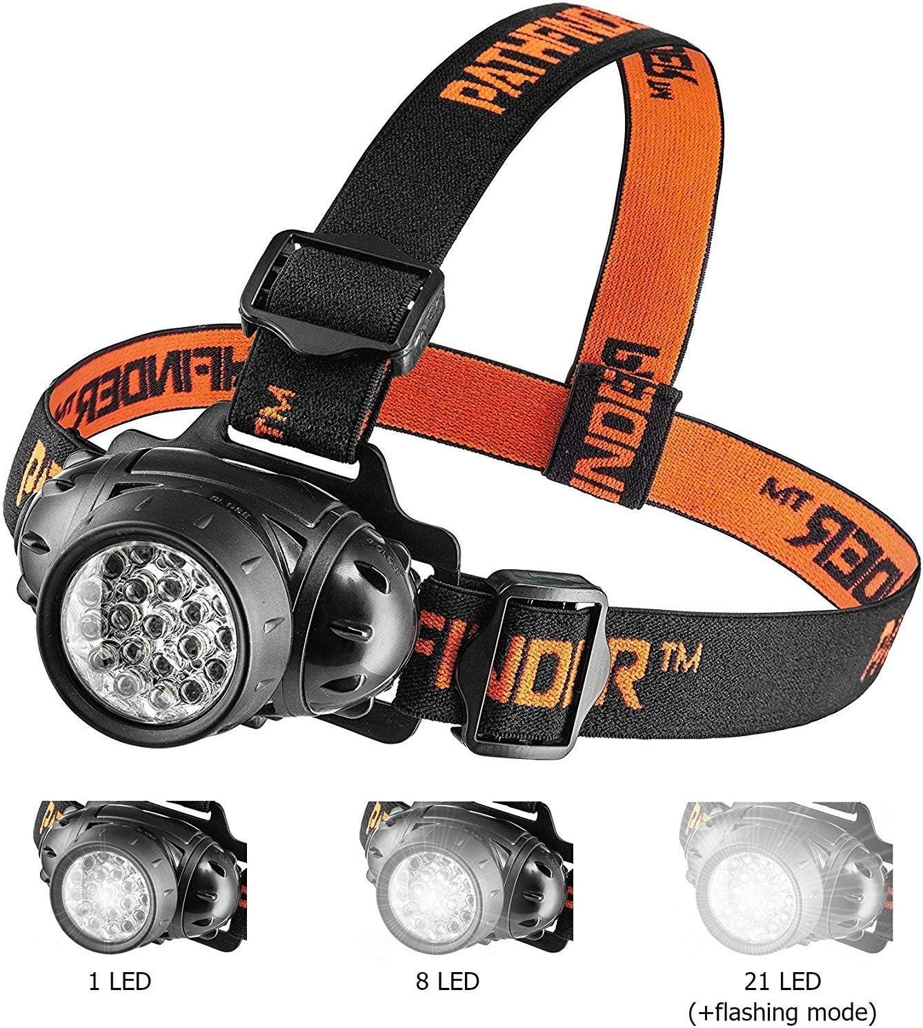 Linterna para la cabeza con 21 luces LED – Linterna Ligera, cómoda ...