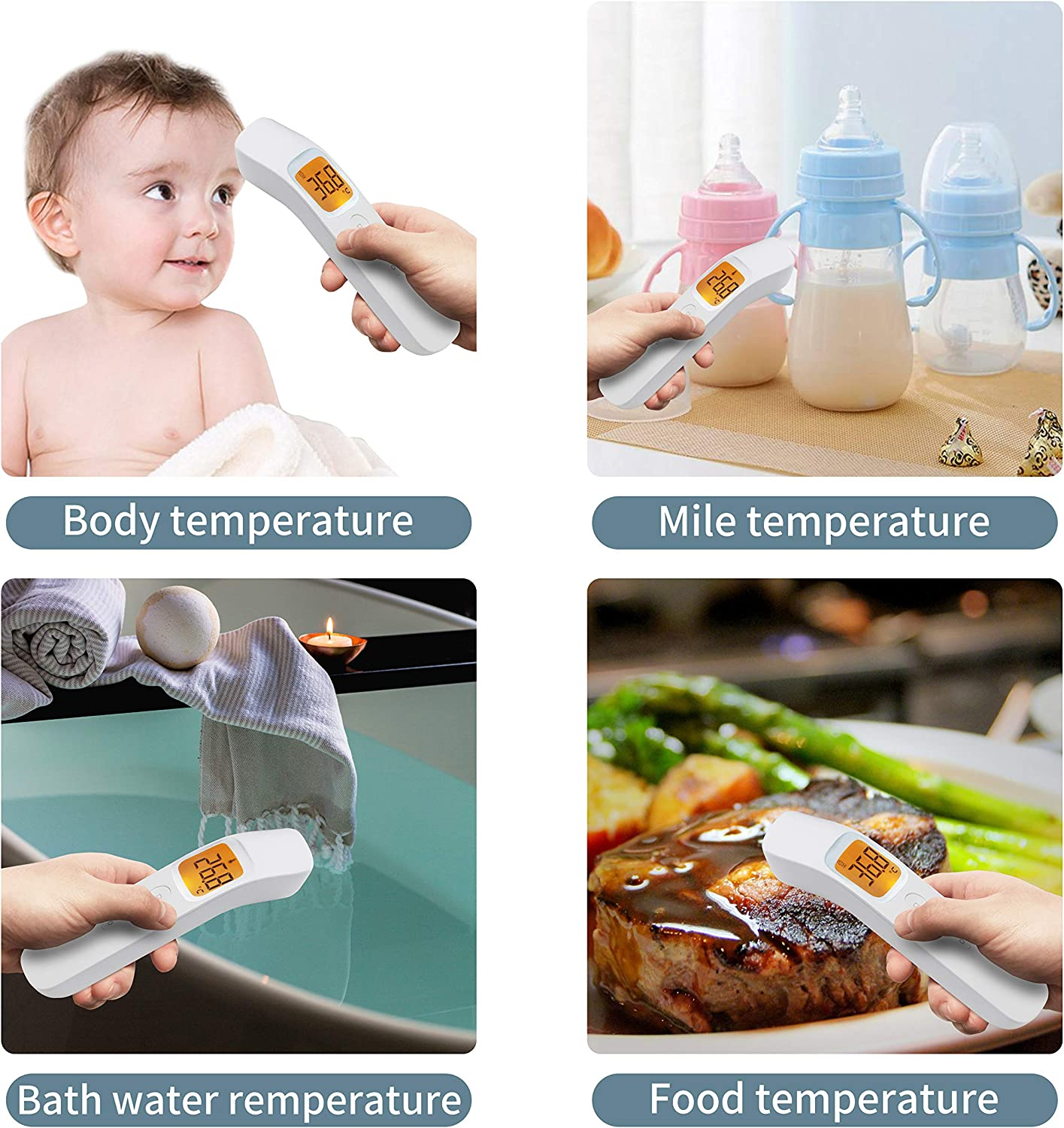School Office Use Termometro Ideal for Baby Adults Non-Contact Forehead Digital LCD Handheld Thermometer Infrared Thermometer Infants