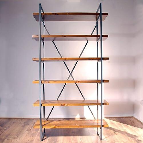 Industrial Vintage Rustic Solid Wood Steel Free Standing Shelves Unit Bookcase