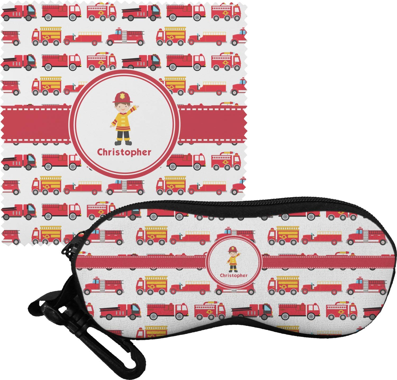 Firetrucks Eyeglass Case & Cloth (Personalized)