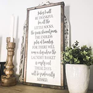Lplpol Today I Will Be Thankful Laundry Room Sign Wood Sign Framed Sign Sign with Quotes Farmhouse Decor Sign for Laundry