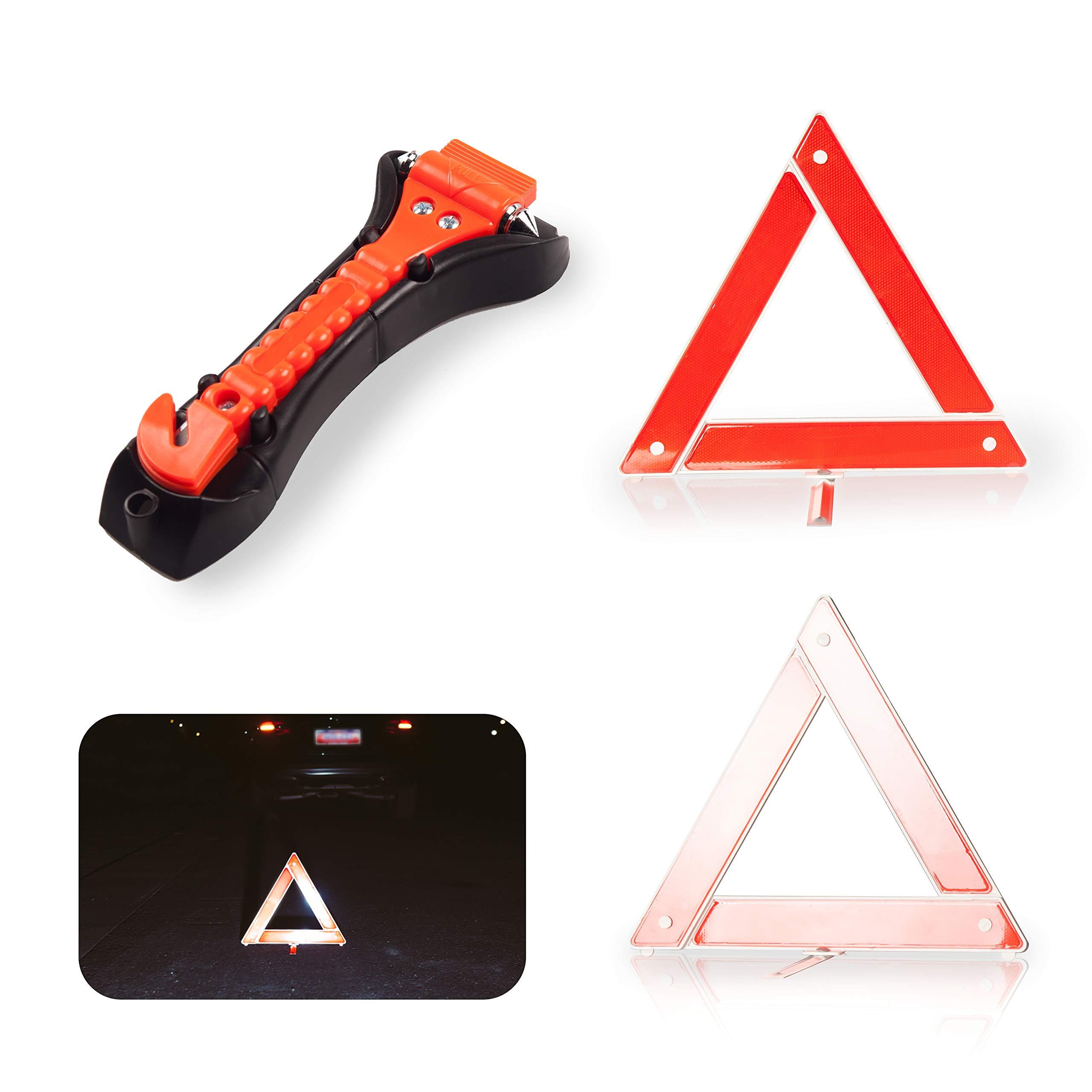 Safety Kit for Car - Warning Triangle Foldable Safety Triple Warning Kit Reflector Roadside Hazard Sign Triangle Symbol + Emergency Hammer
