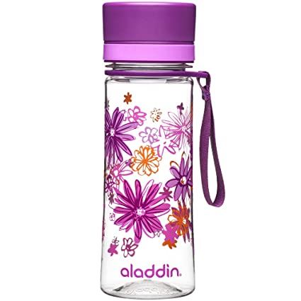 Aladdin Botella de Agua «Aveo», plástico, Light Purple Print, 0.35 Litre