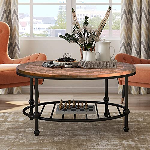 QISE Rustic Natural Coffee Table Order is Delivered Within 3-5 Days with Storage Bottom Open Shelf Wood and Frame Legs Metal Rectangle Coffee Table for Living Room