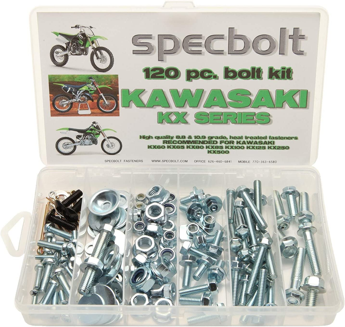 Specbolt Fasteners Brand Bolt Kit fits Kawasaki 250 pc KX 2 Stroke 60-500 Model Series Dirtbikes