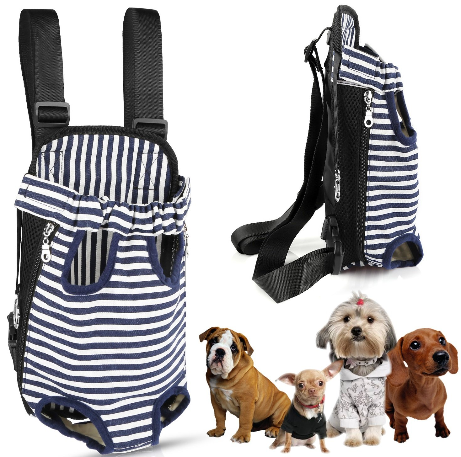 GPCT Pet Puppy Sling Carrier Hands Free Shoulder Travel Backpack. Adjustable Dog Cat Pet Puppy Outdoor Carry Bag Tote Handbag Carrier, Legs Out, Easy Fit For Travelling Hiking Camping- Strip L