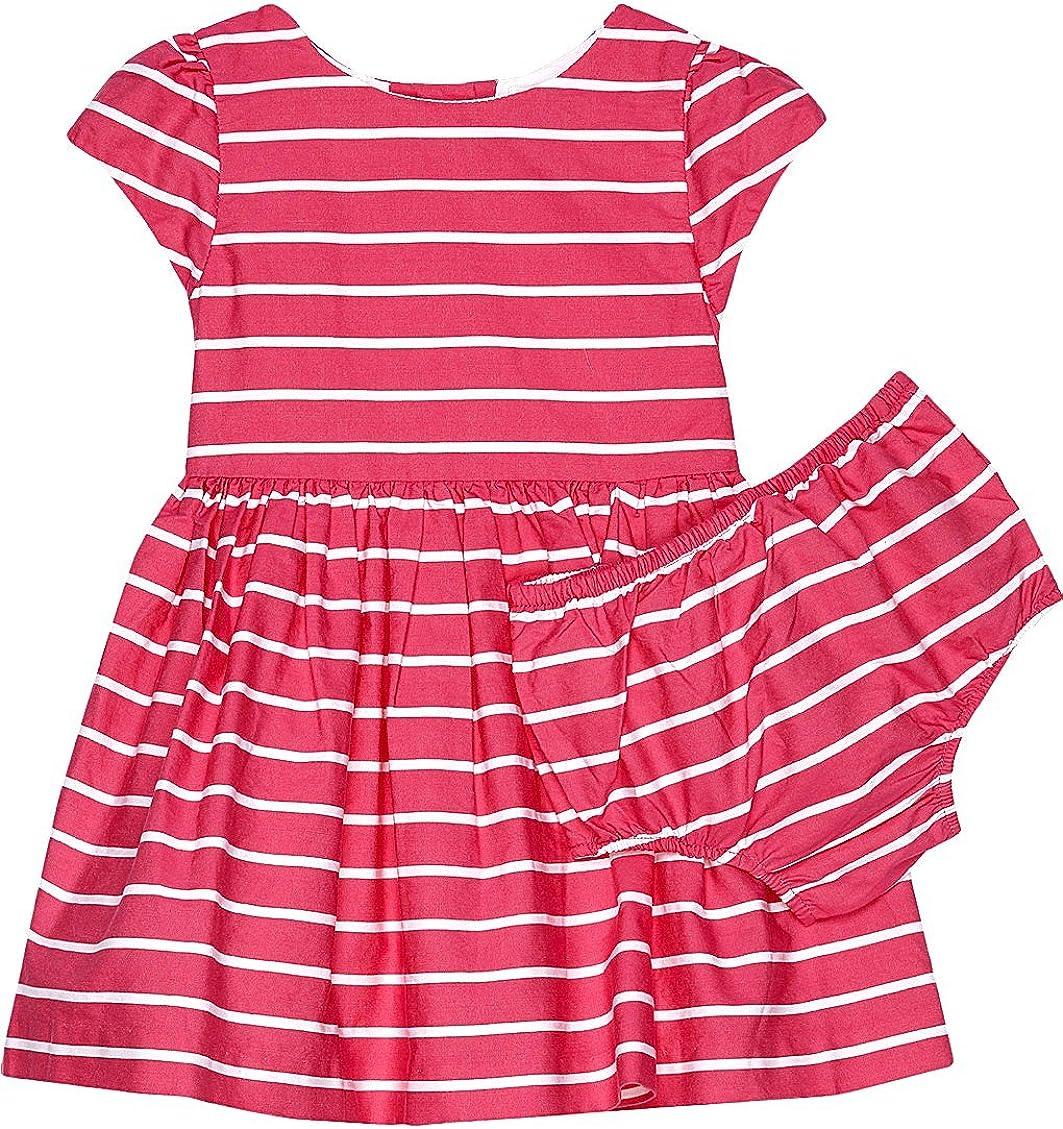 Ralph Lauren Striped Fit /& Flare Girls Dress /& Bloomer Pink//White