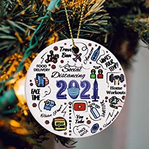 JSJOY 2021 Ornaments Year of Quarantine Ornament, Two-Side Printed 2021 Funny Christmas Decorations Tree, Surviving Ornaments Gifts for Home Decor