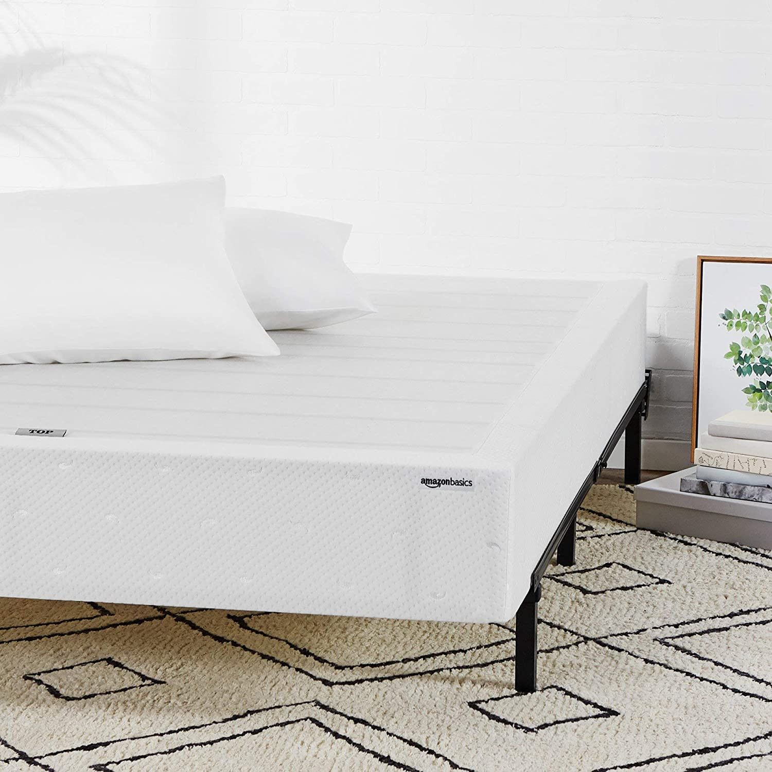 AmazonBasics Mattress Foundation / Smart Box Spring for Twin Size Bed, Tool-Free Easy Assembly - 9-Inch, Twin