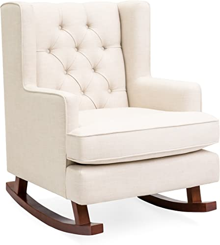 Best Choice Products Tufted Upholstered Wingback Rocking Accent Chair, Living Room, Bedroom w Wood Frame – Beige