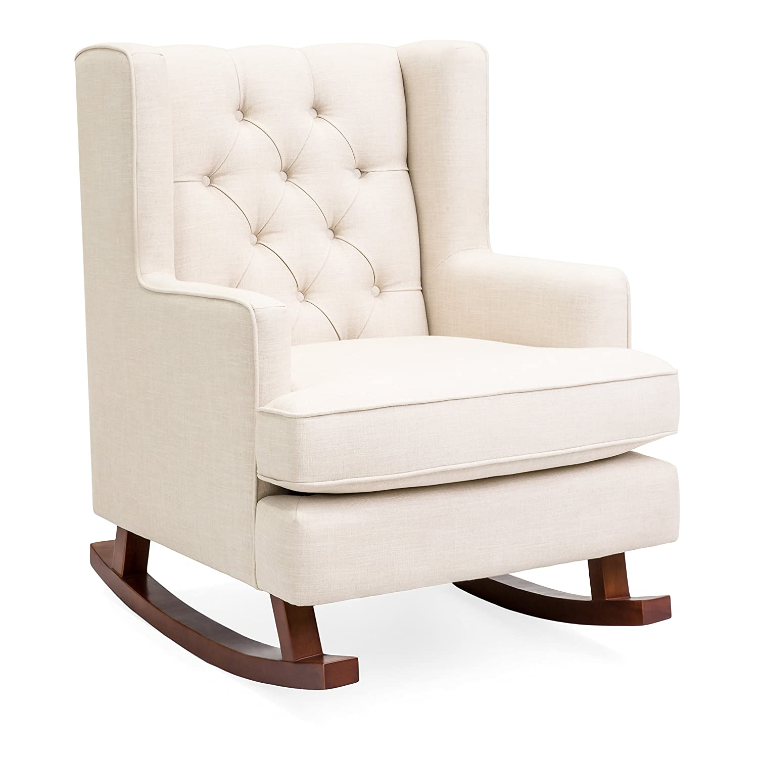 Amazing Best Choice Products Tufted Upholstered Wingback Accent Chair Rocker W Wood Frame Beige Customarchery Wood Chair Design Ideas Customarcherynet