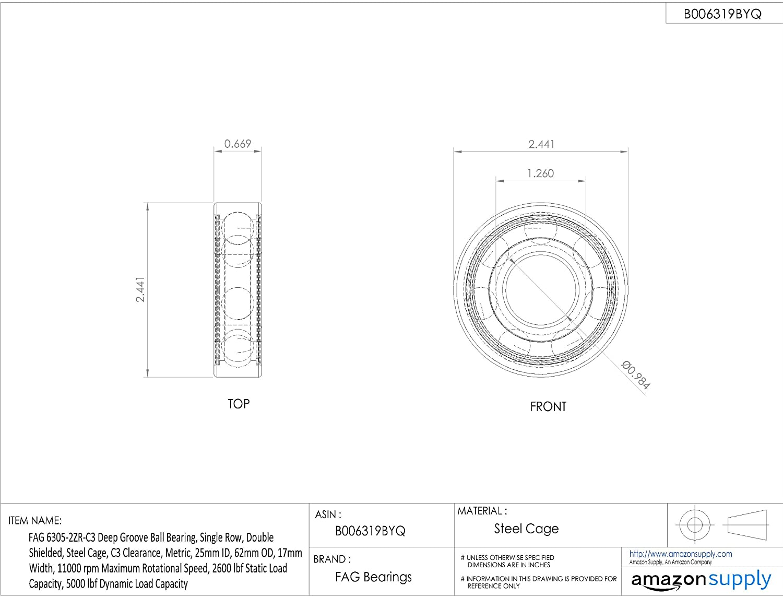 FAG Bearings 6305.2ZR.C3 Single Row Deep Groove Ball Bearing Metal Seal 25x62x17mm