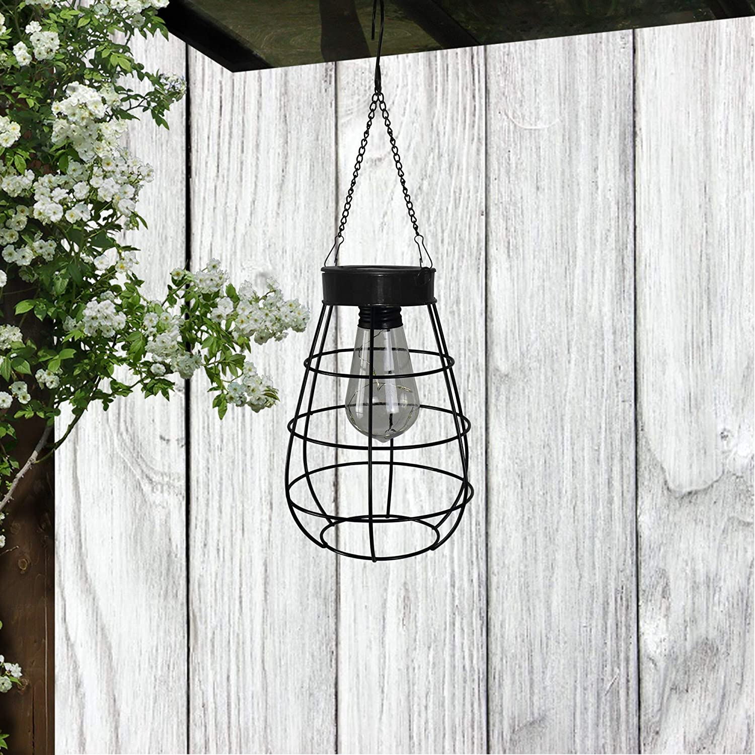Solar Cage Hanging Lantern, Wireless for Outdoor use, Illuminate for Patio, Porch (Bulb)