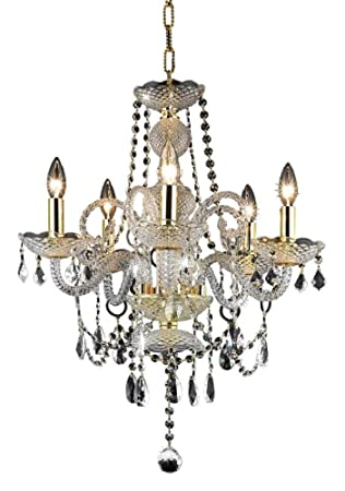 Elegant Lighting 7835D20G RC Princeton 22-Inch High 5-Light Chandelier, Gold Finish with Crystal Clear Royal Cut RC Crystal