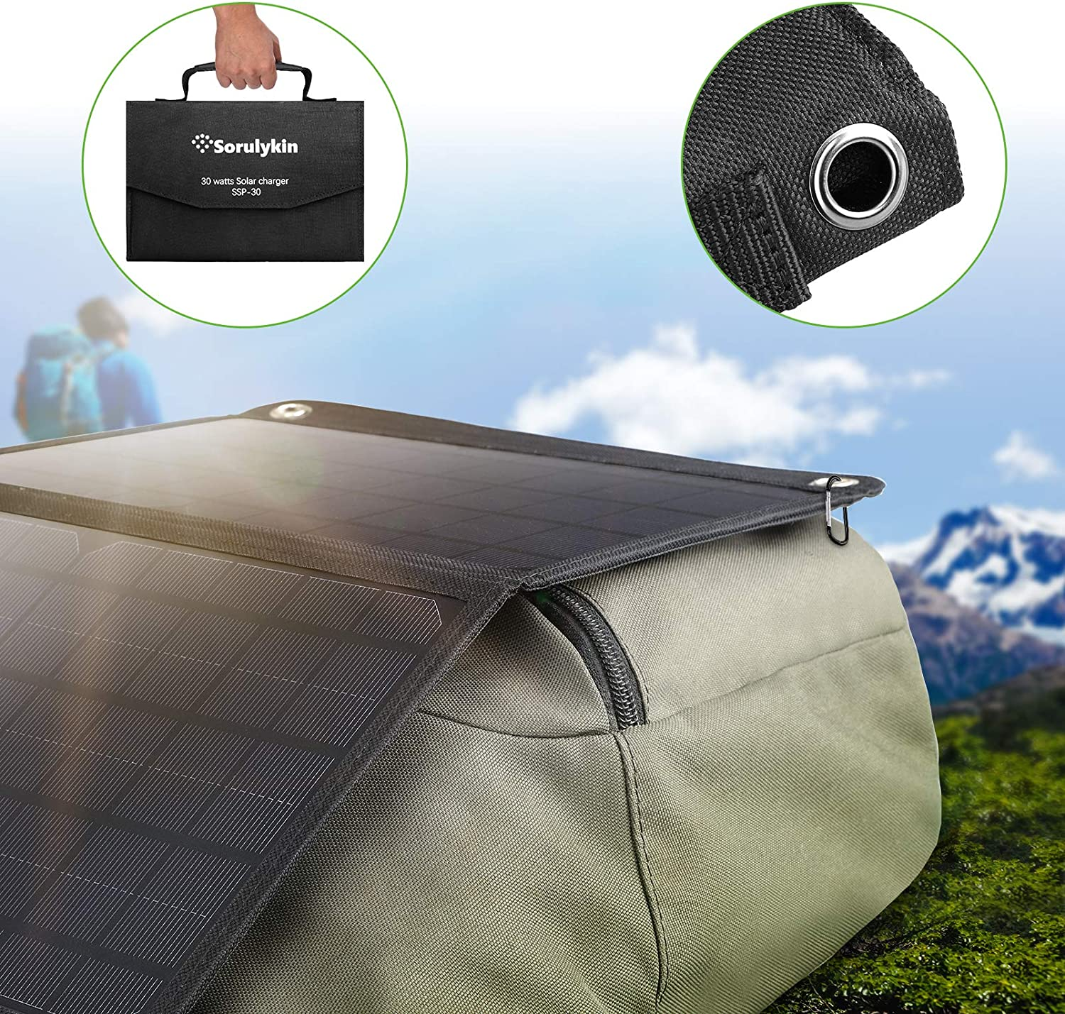 iPad Sorulykin Foldable Solar Panel 30W Portable Solar Charger Kit with Dual 5V USB Ports /& 18V DC Output for Cell Phone Android and Outdoor