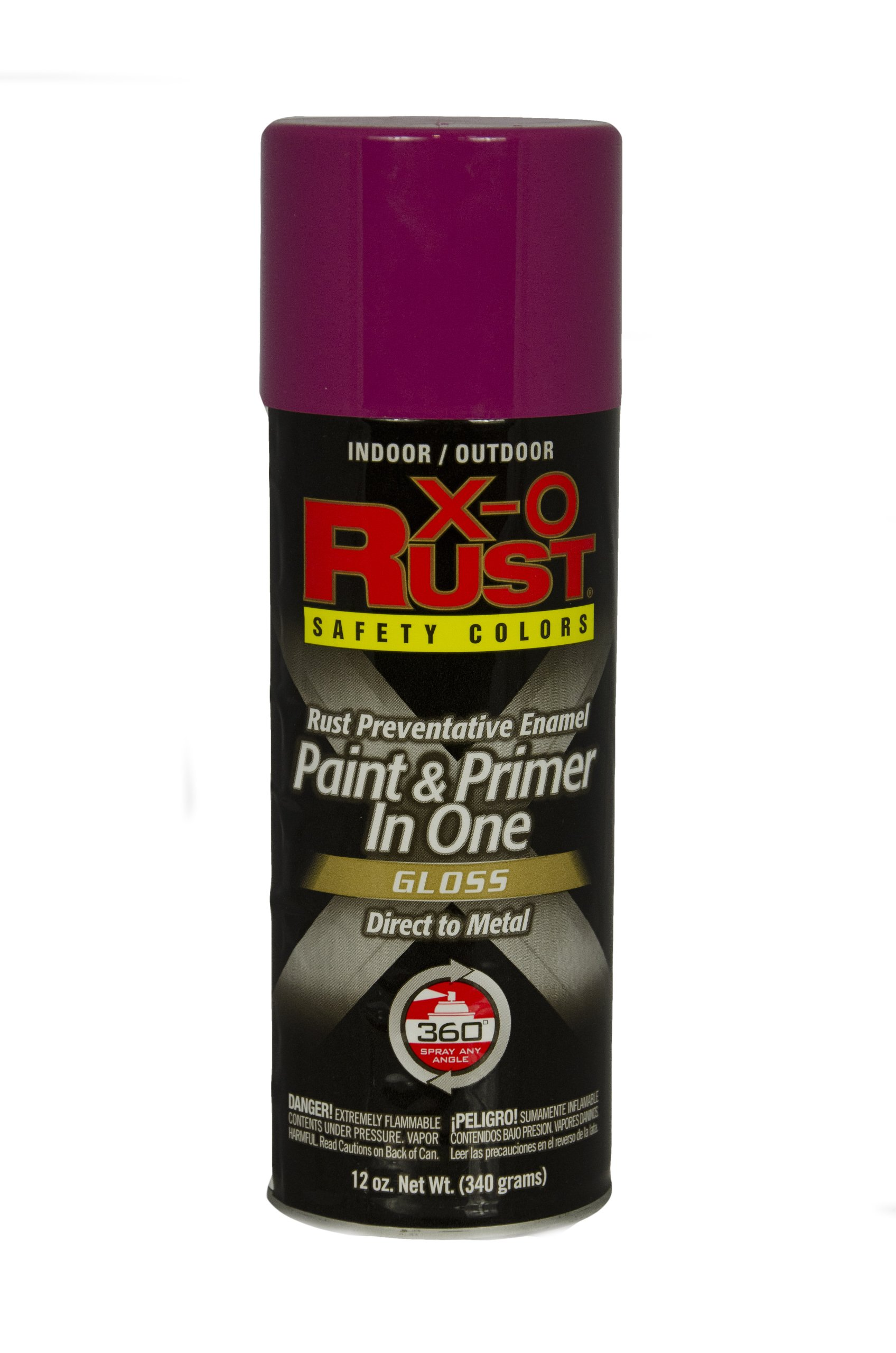 General Paint & Manufacturing XOP-33 X-O Rust Professional Safety Colors Paint and Primer in One Spray with 360-Degree Spray Tip, Safety Purple