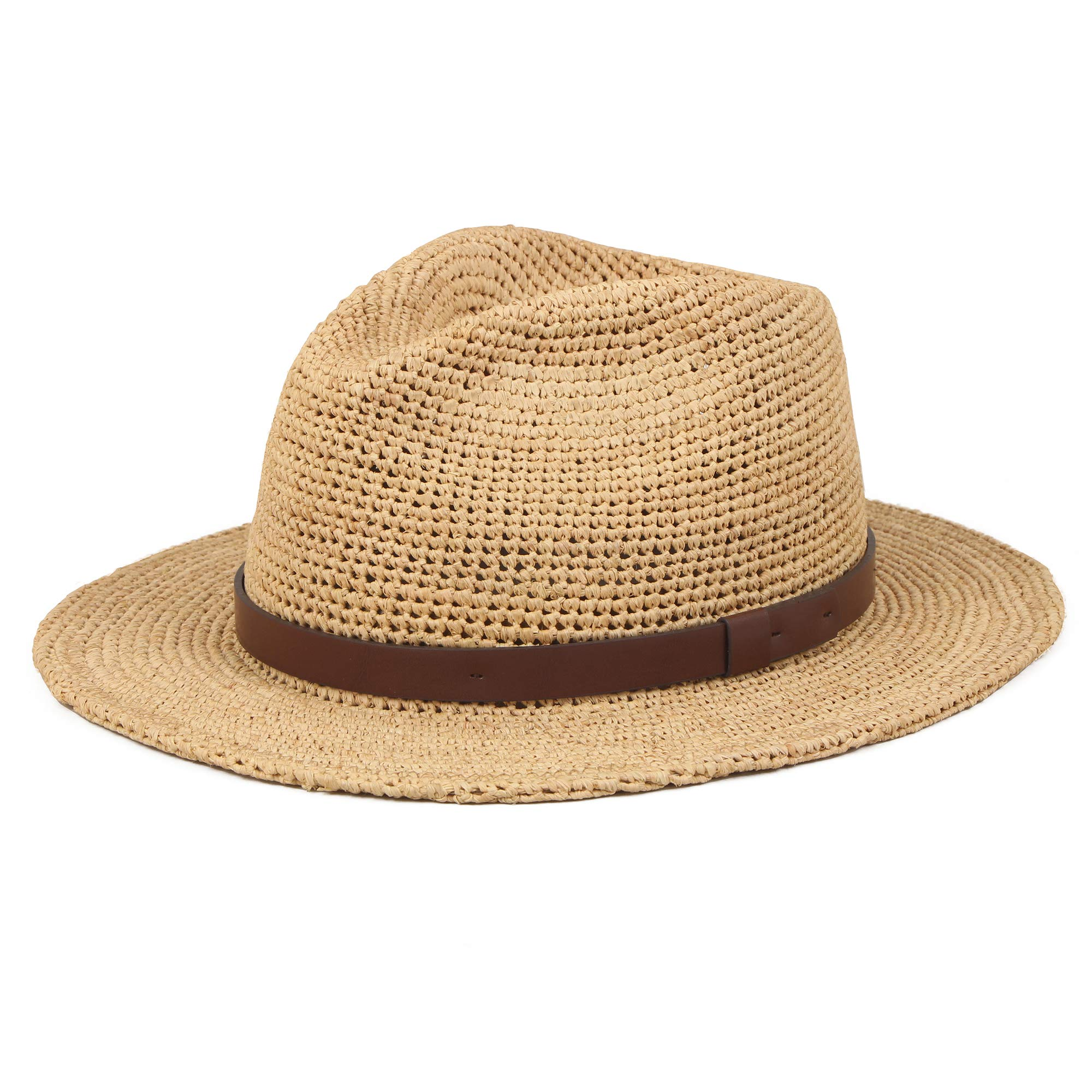 Unisex Sun Raffia Straw Panama Handmade Hats Summer Wide Brim Beach Casual Adjustable Trilby Jazz Fedora Hat With UV Protection For Women Men Mix Brown M/L