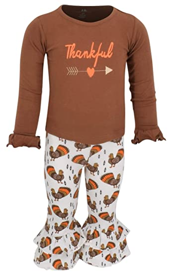 eaea5f8bcd78 Amazon.com: Unique Baby Girls 2 Piece Thankful Thanksgiving Outfit ...