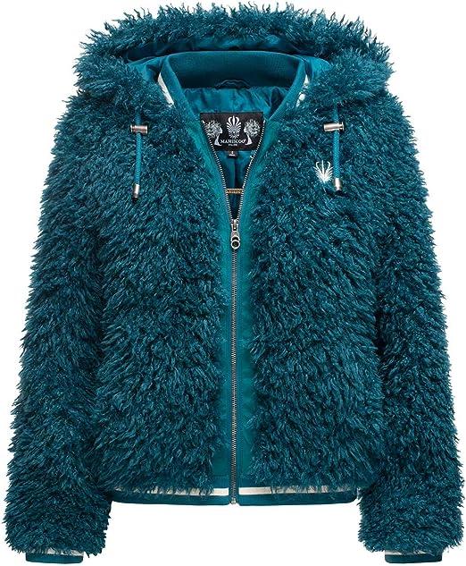 Marikoo Damen Jacke Teddyfell Kunstfelljacke Winter Kuscheljacke Kunstfell B823