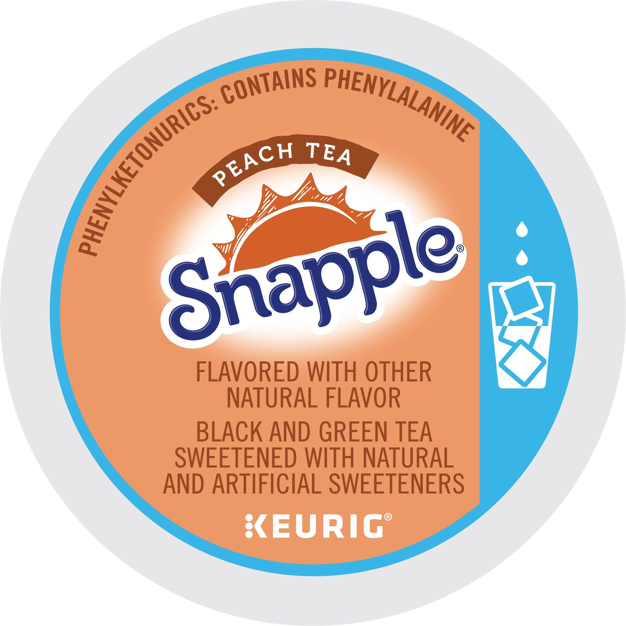 Keurig, Snapple, Peach Iced Tea, K-Cup packs, 12 Count, Pack of 6