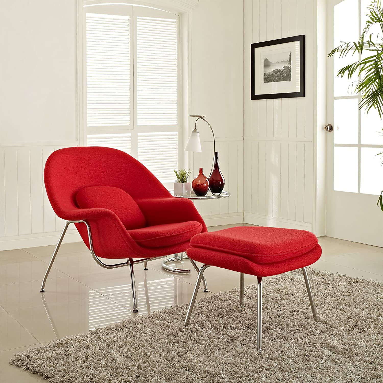Womb chair living room - Amazon Com Modway Eero Saarinen Style Womb Chair And Ottoman Set In Red Kitchen Dining