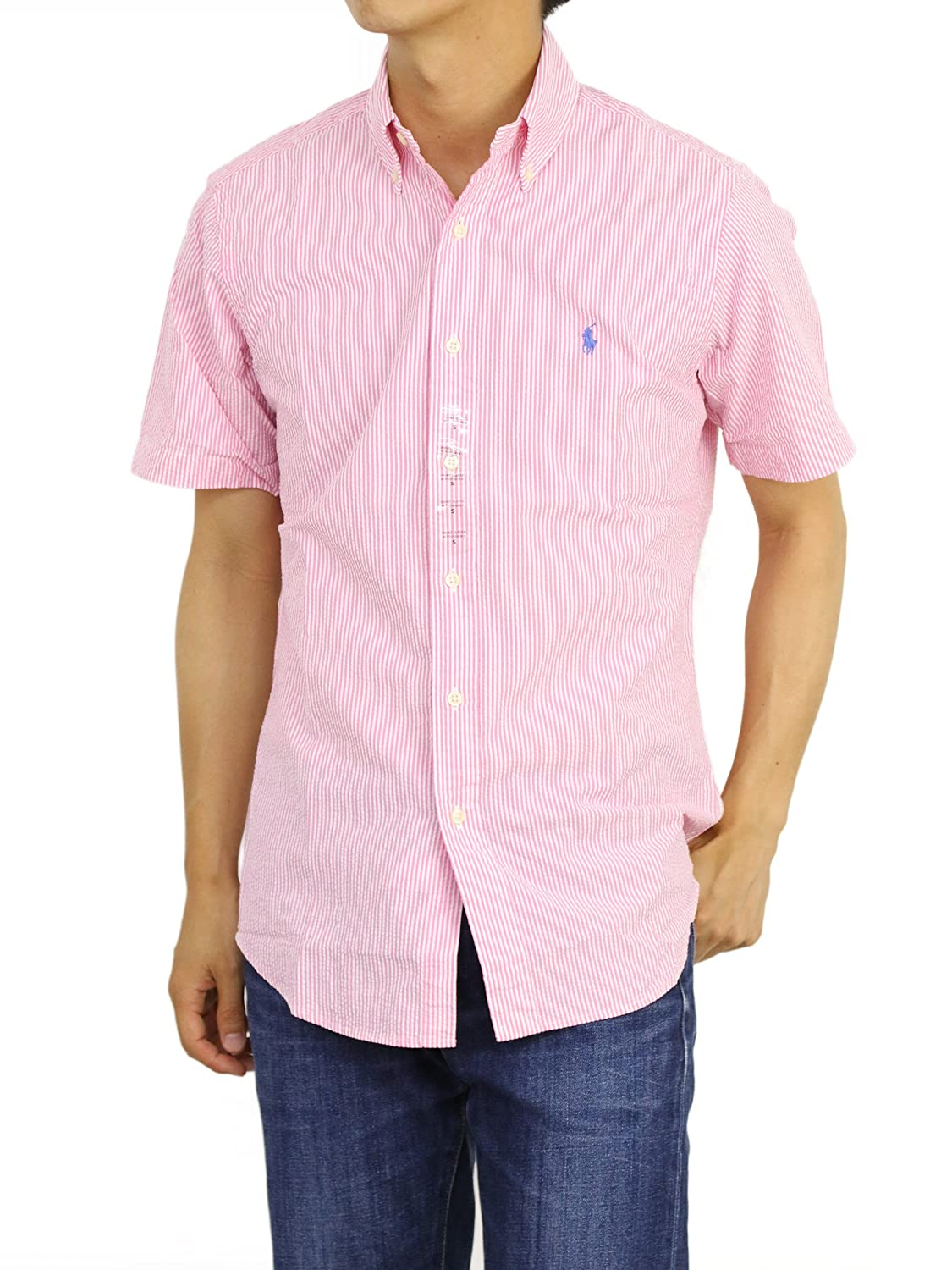 Polo Ralph Lauren Mens Short Sleeve Seersucker Sport Shirt (Bright Pink de9d116c5268
