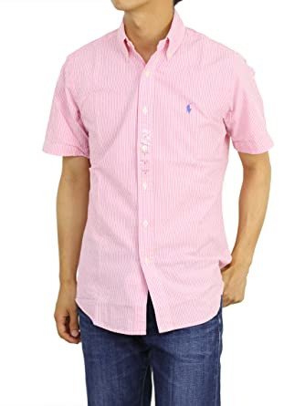 b3ceac35b Polo Ralph Lauren Mens Short Sleeve Seersucker Sport Shirt (Bright Pink