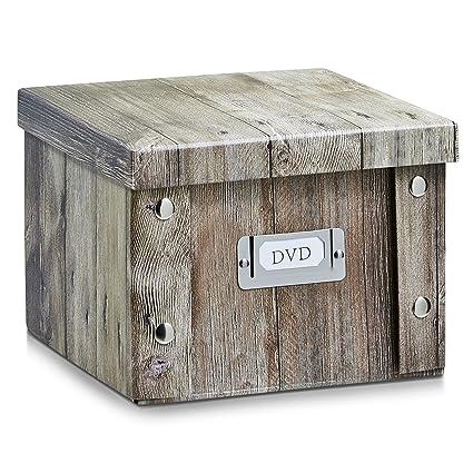 Zeller 17866 Caja de almacenaje de cartón Marrón (Braun) 21.5 x 20.5 x 15