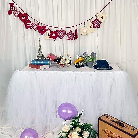 Amazon.com: Falda de mesa de tul, mantel de mesa de comedor ...