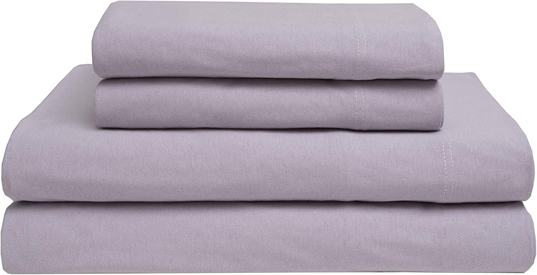 Elite Home Jersey Knit 100% Cotton Sheet Set, Lilac, Queen