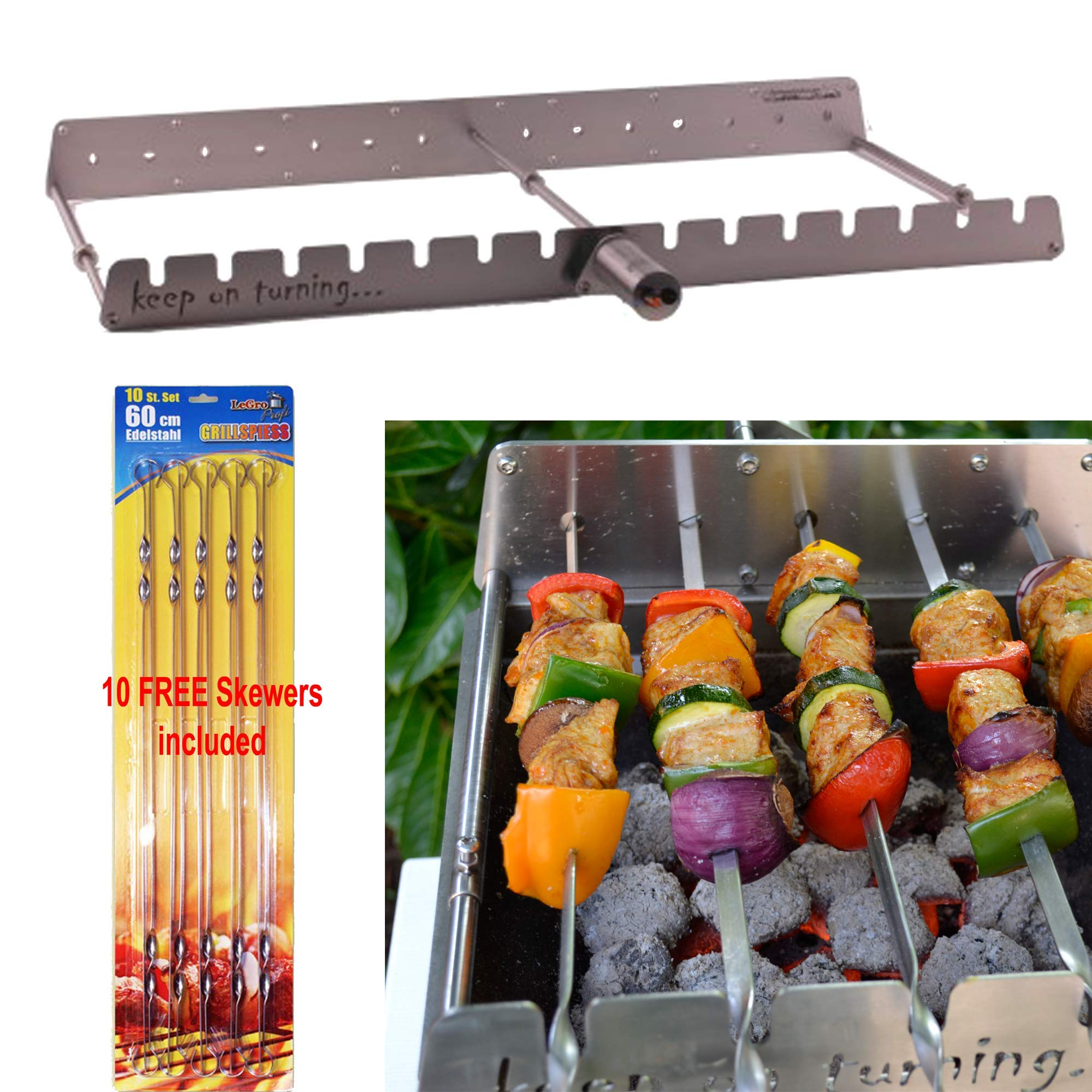 Keep on Turning 14 Skewer Kabob Kebab Shish Automatic Rotating Rotisserie Grill Rack Accessory Attachment for Gas Grills Stainless Steel incl. 10 Free Skewers by Keep on Turning (Image #1)