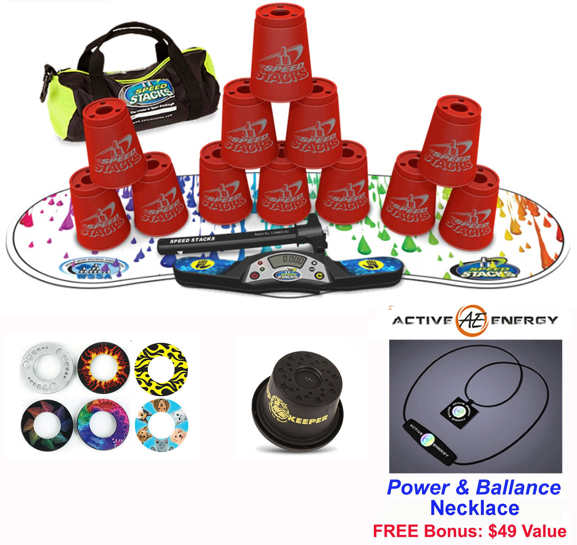 Speed Stacks Combo Set ''The Works'': 12 RED 4'' Cups, RAINBOW DROP Gen 3 Mat, G4 Pro Timer, Cup Keeper, Stem, Gear Bag + Active Energy Necklace