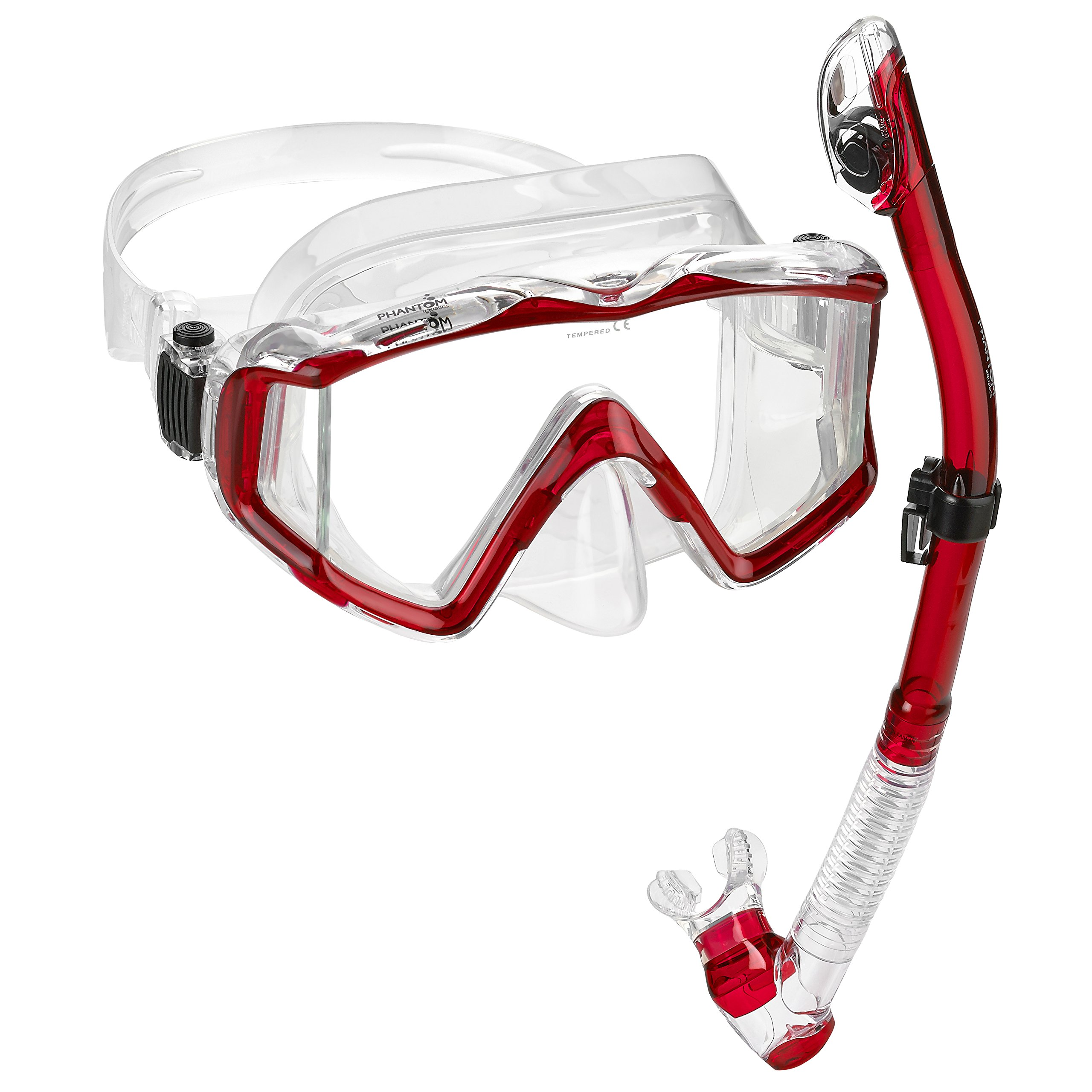 Phantom Aquatics Ultra Panoramic View Scuba Snorkeling Mask Dry Snorkel Set (Red) by Phantom Aquatics
