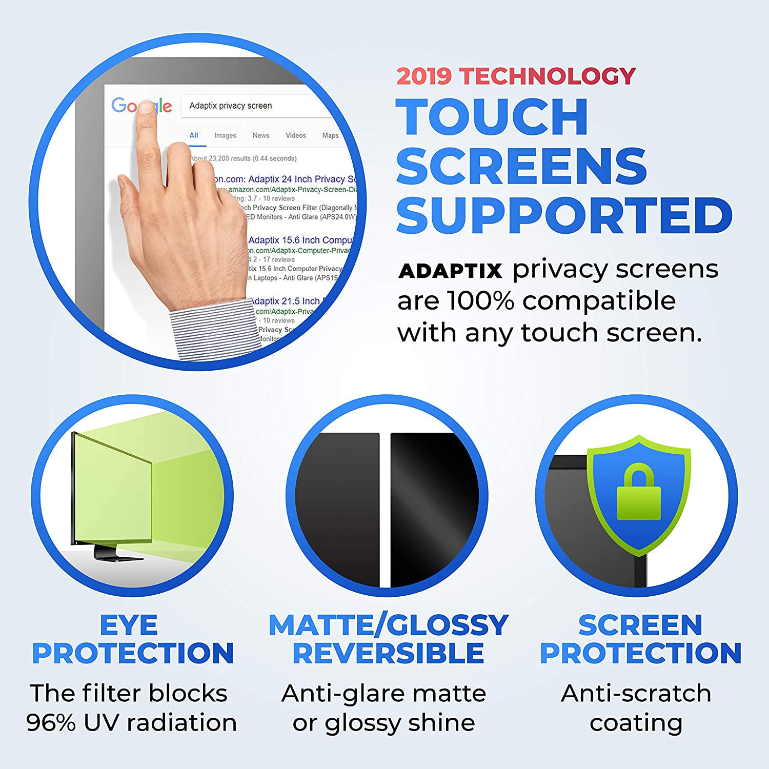 """Matte or Gloss Finish Privacy Filter Protector Info Protection for Desktop Computer Security 5:4 by Adaptix Monitor Privacy Screen 19/"""" Anti-Scratch APS19.0 Anti-Glare Blocks 96/% UV"""