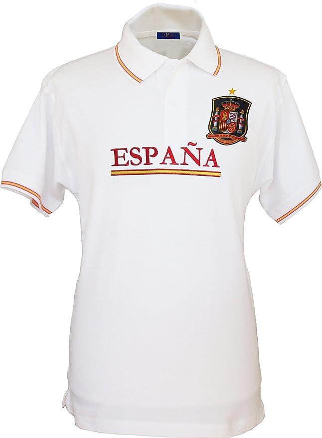Pi2010 – Polo España Blanco, Bordado Delantero, Escudo Selección Española en Pecho, Bandera España en Cuello y Mangas, 100% algodón: Amazon.es: Ropa y accesorios
